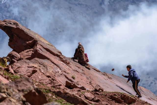 children, kids, playing, Agouinane Village, Azzaden Valley, High Atlas Mountains, Morocco