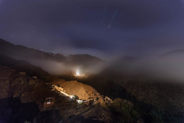 night , long exposure, stars, clouds, Id Issa, Azzaden Valley, High Atlas Mountains, Morocco