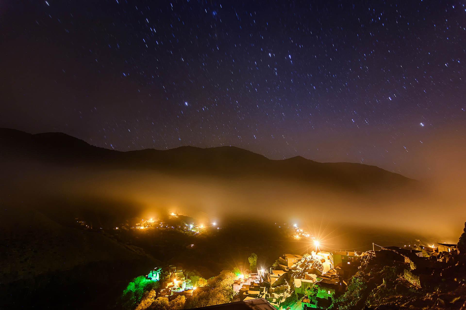 night , long exposure, stars, Id Issa, Azzaden Valley, High Atlas Mountains, Morocco